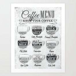 Coffee menu coal Art Print