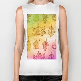 Colorful Autumn Leaf Watercolor Biker Tank