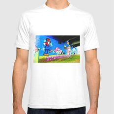 Graffiti under the bridge (Mario Bros). MEDIUM Mens Fitted Tee White