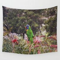 parrot Wall Tapestries featuring Parrot  by Dzonatans Jansevics