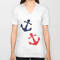 anchors V-neck T-shirts featuring Anchors by Indulge My Heart