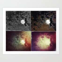 Clouds and Moon at Night Art Print