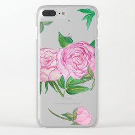 Peonies for loved ones Clear iPhone Case