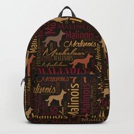 Belgian Malinois Dog Word Art pattern Backpack