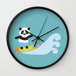 Surf Panda Wall Clock