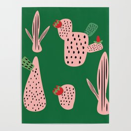 Mid Mod Cactus Green Poster
