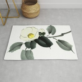 White camellia sumi ink and japanese watercolor painting Rug