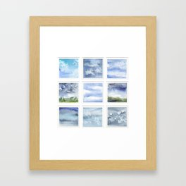 Watercolor collection: Blue sky & clouds Framed Art Print