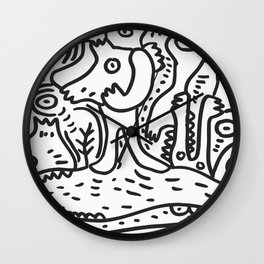 Black and White Hand Draw Graffiti Creatures and the river of life  Wall Clock