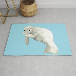 Manatee Simple Blue or White background Rug