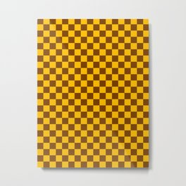 Amber Orange and Chocolate Brown Checkerboard Metal Print