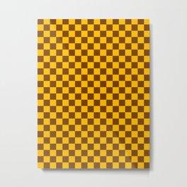 Amber Orange and Chocolate Brown Checkerboard Metal Print