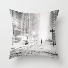 New York City Snow in Times Square Throw Pillow
