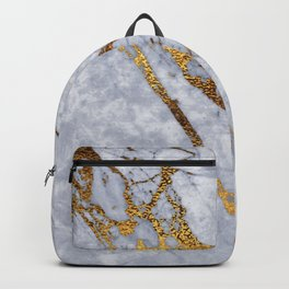 Blue-Gray Steel Marble With Dramatic Gold Veins Backpack