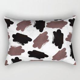 Burgundy black white marble abstract brushstrokes Rectangular Pillow