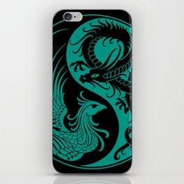 Teal Blue and Black Dragon Phoenix Yin Yang iPhone Skin