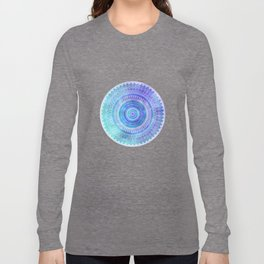 Blue Turquoise And Purple Watercolor Mandala Art Long Sleeve T-shirt