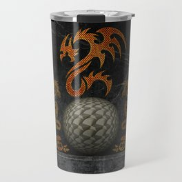 Awesome tribal dragon made of metal Travel Mug