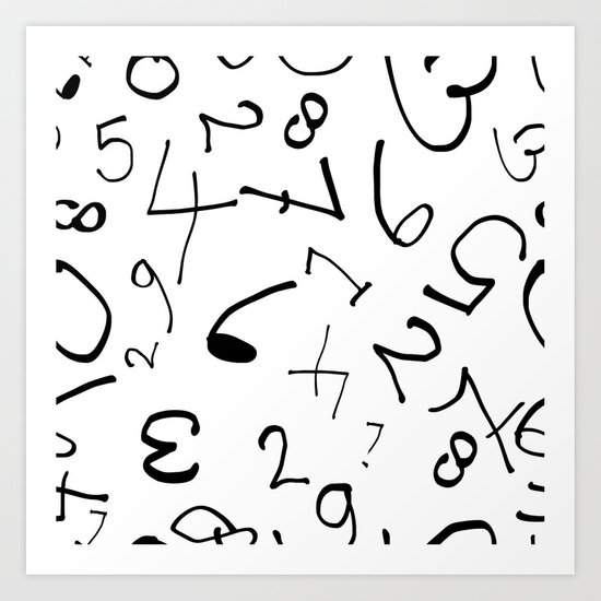 numbers in white Art Print