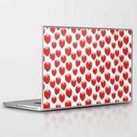 vegetarian Laptop & iPad Skins featuring Strawberries - trendy fresh tropical fruit vegan vegetarian juice juicing cleanse by CharlotteWinter