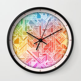 BRIGHT VIBRANT GRADIENT GEOMETRIC SHAPES RAINBOW PRINT TILED MOSAIC TIE DYE COLORFUL Wall Clock