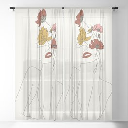 Colorful Thoughts Minimal Line Art Woman with Flowers Sheer Curtain