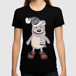 Christmas cute bear. Winter design illustration T-shirt