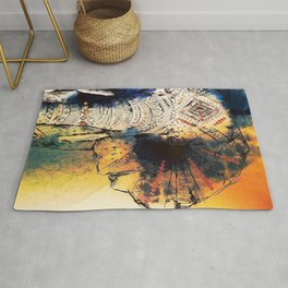 Watercolor elephant & mandala art Rug