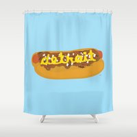 detroit Shower Curtains featuring Detroit Coney by Rebecca Goldberg