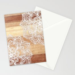 White doodles on blonde wood - neutral / nude colors Stationery Cards