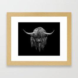 Scottish Highland Cow (bw) Framed Art Print