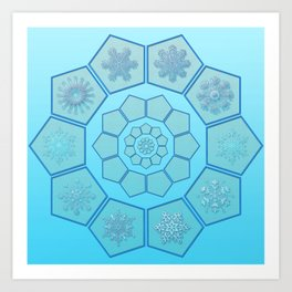 Polygons with snowflakes in gradient blue Art Print