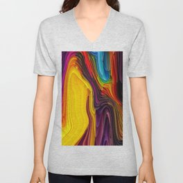 Melting Pot of Colors Abstract Unisex V-Neck
