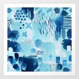 Study in blue, watercolor Art Print