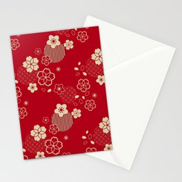 Red Asian pattern with spring flowers Stationery Cards
