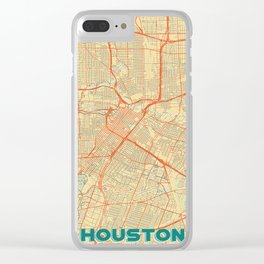 Houston Map Retro Clear iPhone Case