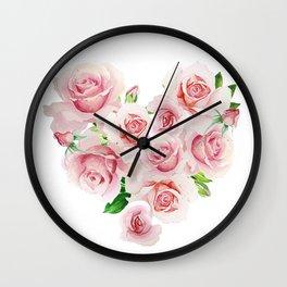 watercolor roses heart Wall Clock