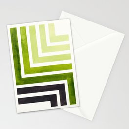 Sap Green Mid Century Modern Watercolor Colorful Ancient Aztec Art Pattern Minimalist Geometric Patt Stationery Cards