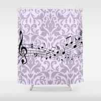 music notes Shower Curtains featuring Damask Music Notes by Jessica Wray
