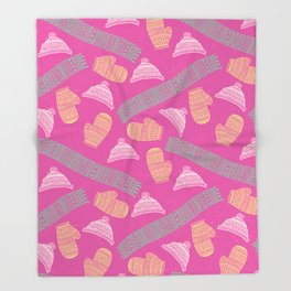 Winter Mitten, Hat, and Scarf Pattern Throw Blanket