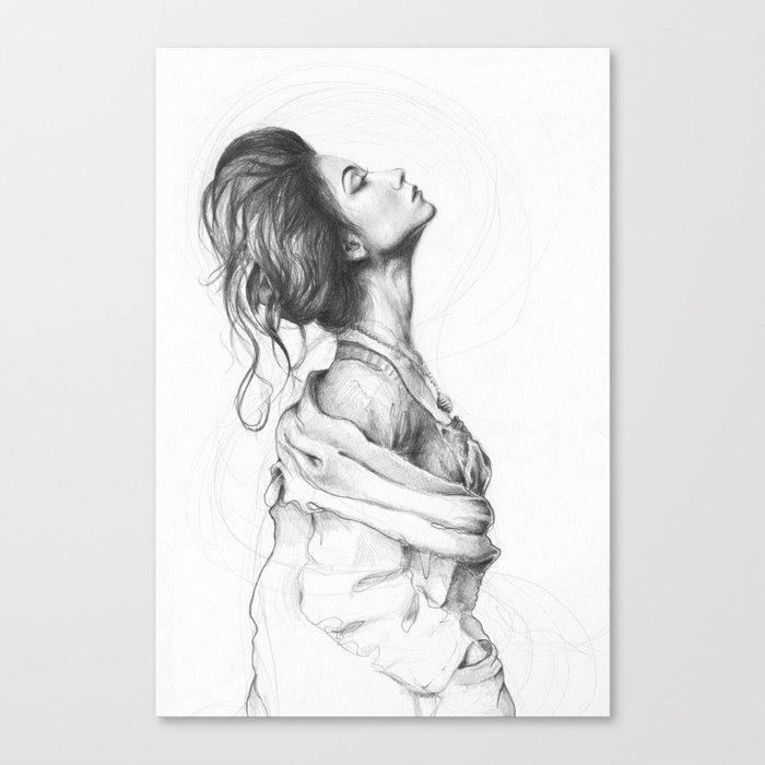 Pretty Lady Illustration Woman Portrait Beauty Canvas Print