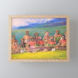 John La Farge - Chiefs and Performers in War Dance, Fiji - Digital Remastered Edition Framed Mini Art Print