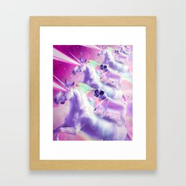 Space Pug On Flying Rainbow Unicorn With Laser Eyes Framed Art Print