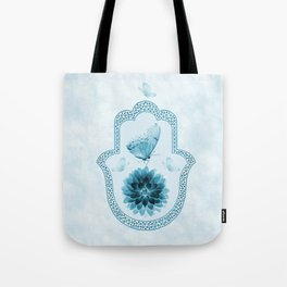 Butterfly Lotus Blue Hamsa Hand Tote Bag