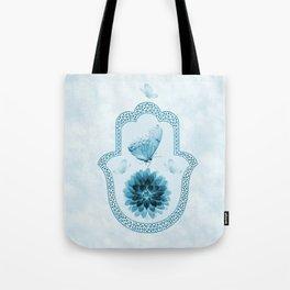 Butterfly Lotus Blue Hamsa Hand Tote Bag