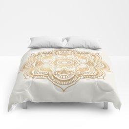 Mandala beige creamy pattern 2 Comforters