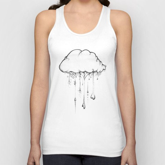 Happy Cloud Drawing, Cute Whimsical Illustration Unisex Tank Top