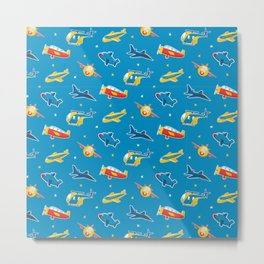 Cute plane pattern Metal Print