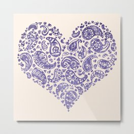 Purple Brocade Paisley Heart Metal Print