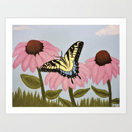 Swalowtail Butterfy on Purple Cone Flower Art Print